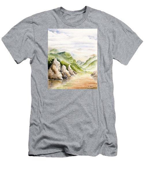 Watercolor Landscape Plein Air Men's T-Shirt (Athletic Fit)