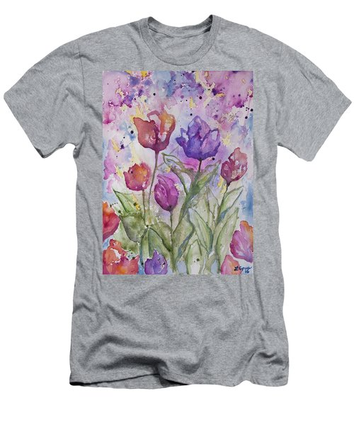 Watercolor - Spring Flowers Men's T-Shirt (Athletic Fit)