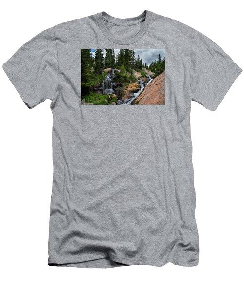 Waterfall Above Upper Slate Lake Men's T-Shirt (Slim Fit) by Michael J Bauer