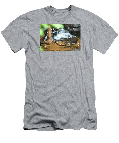 Waterfall And Pool On Soap Creek Men's T-Shirt (Slim Fit) by James Potts