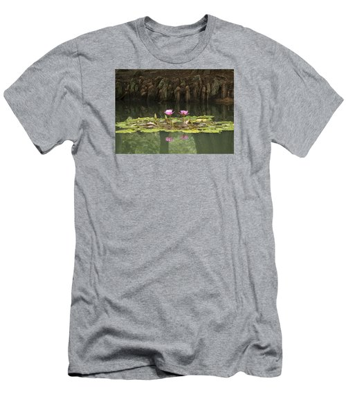 Men's T-Shirt (Slim Fit) featuring the photograph Waterlilies And Cyprus Knees by Linda Geiger