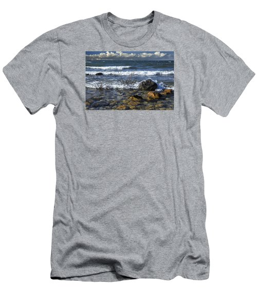 Waves Crashing Ashore At Northport Point On Lake Michigan Men's T-Shirt (Athletic Fit)