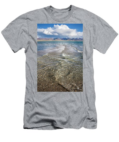 Men's T-Shirt (Athletic Fit) featuring the photograph Waves Of Namtso, Tibet, 2007 by Hitendra SINKAR