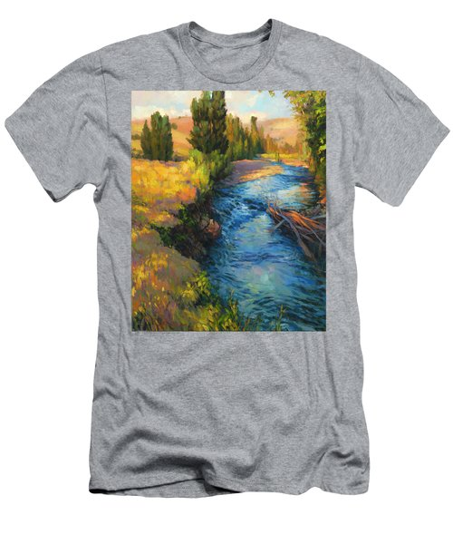 Men's T-Shirt (Athletic Fit) featuring the painting Where The River Bends by Steve Henderson