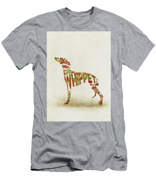 Men's T-Shirt (Athletic Fit) featuring the painting Whippet Watercolor Painting / Typographic Art by Inspirowl Design