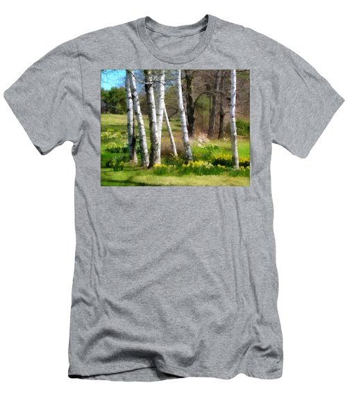 White Birch Trees And Jonquils Men's T-Shirt (Athletic Fit)
