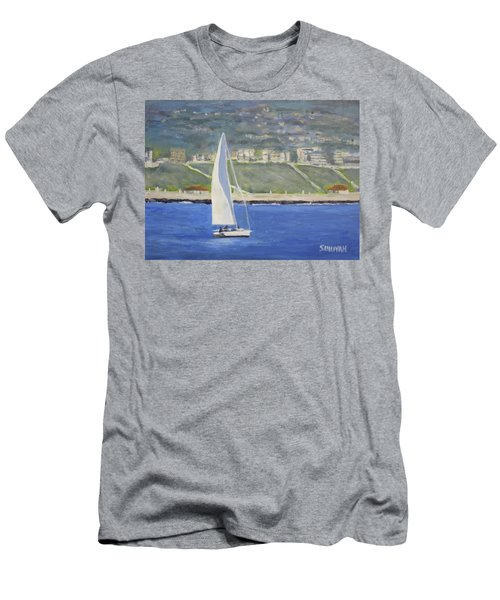 White Boat, Blue Sea Men's T-Shirt (Athletic Fit)