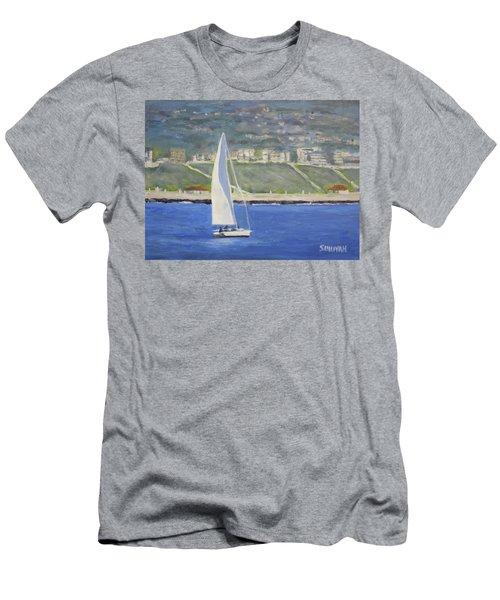 White Boat, Blue Sea Men's T-Shirt (Athletic Fit)