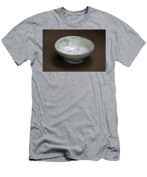 White Ceramic Bowl With Turquoise Blue Glaze Drips Men's T-Shirt (Slim Fit) by Suzanne Gaff