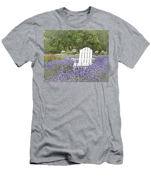 Men's T-Shirt (Slim Fit) featuring the photograph White Chair In A Field Of Lavender Flowers by Brooke T Ryan