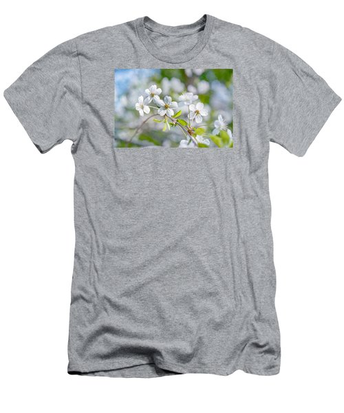 Men's T-Shirt (Slim Fit) featuring the photograph White Cherry Blossoms In Spring by Alexander Senin