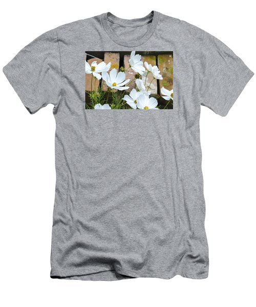 White Flowers Against Bricks Men's T-Shirt (Athletic Fit)
