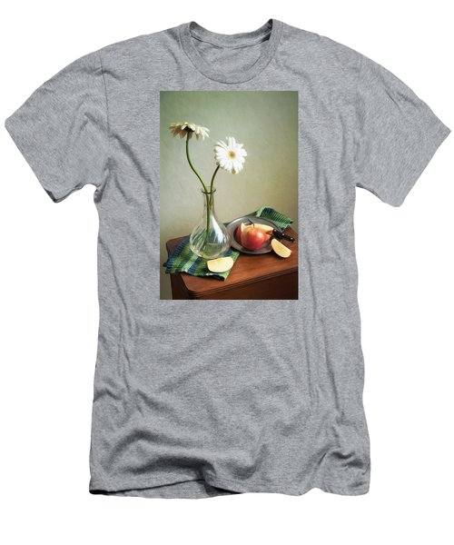 White Flowers And Red Apples Men's T-Shirt (Athletic Fit)