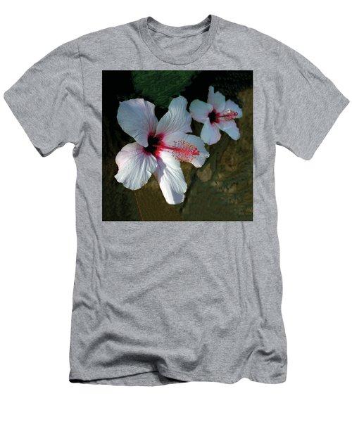 White Hibiscus Pair Men's T-Shirt (Athletic Fit)