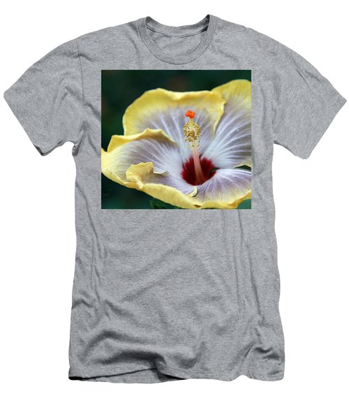 White Hibiscus Men's T-Shirt (Slim Fit) by Yvonne Wright