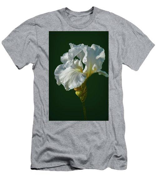 White Iris On Dark Green #g0 Men's T-Shirt (Athletic Fit)