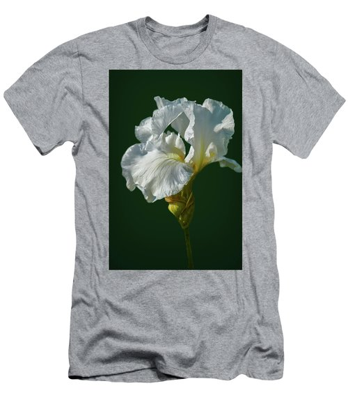 White Iris On Dark Green #g0 Men's T-Shirt (Athletic Fit)