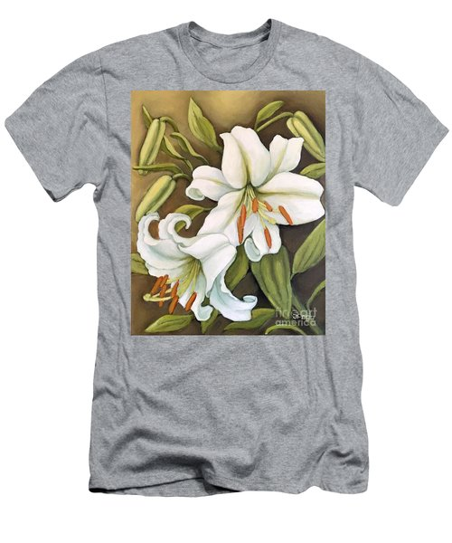 White Lilies Men's T-Shirt (Slim Fit) by Inese Poga