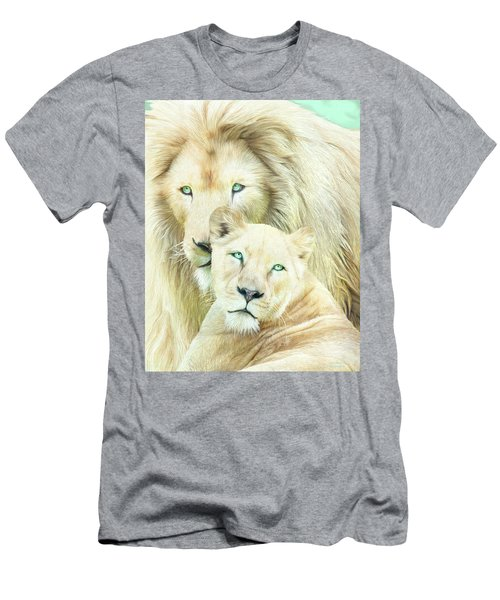 Men's T-Shirt (Athletic Fit) featuring the mixed media White Lion Family - Mates by Carol Cavalaris