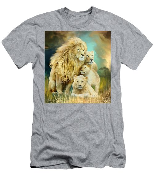 Men's T-Shirt (Athletic Fit) featuring the mixed media White Lion Family - Unity by Carol Cavalaris
