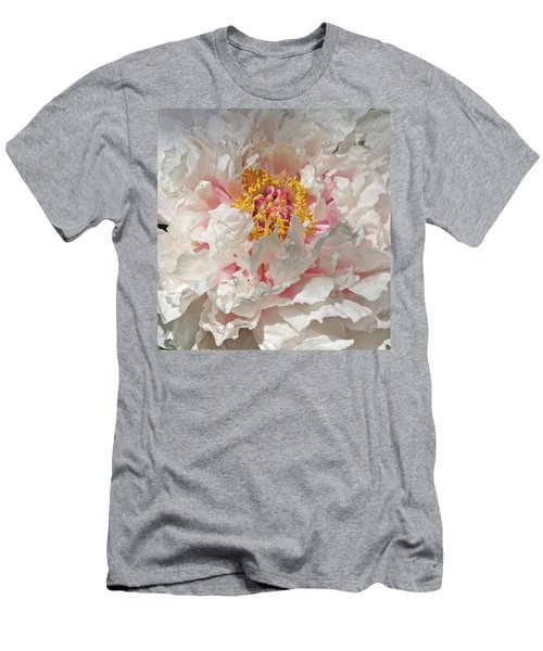 Men's T-Shirt (Slim Fit) featuring the photograph White Peony by Sandy Keeton