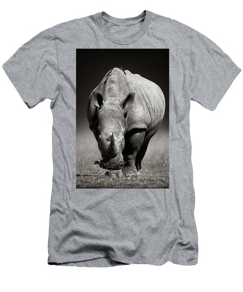 White Rhinoceros  In Due-tone Men's T-Shirt (Athletic Fit)