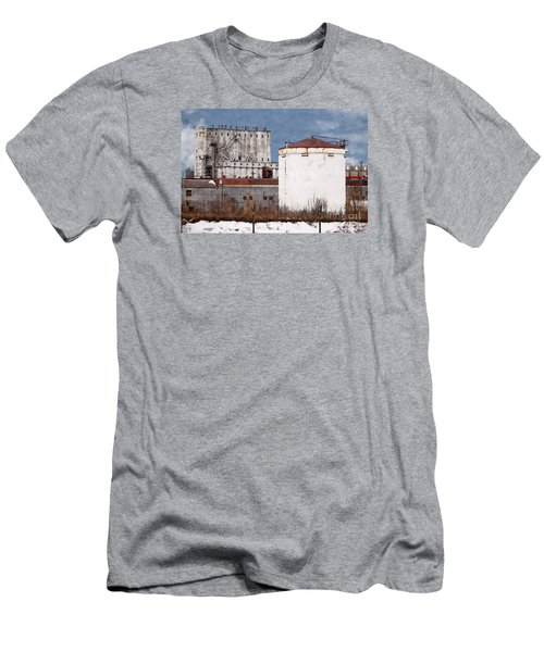 White Silo And Grain Elevator Men's T-Shirt (Slim Fit) by David Blank