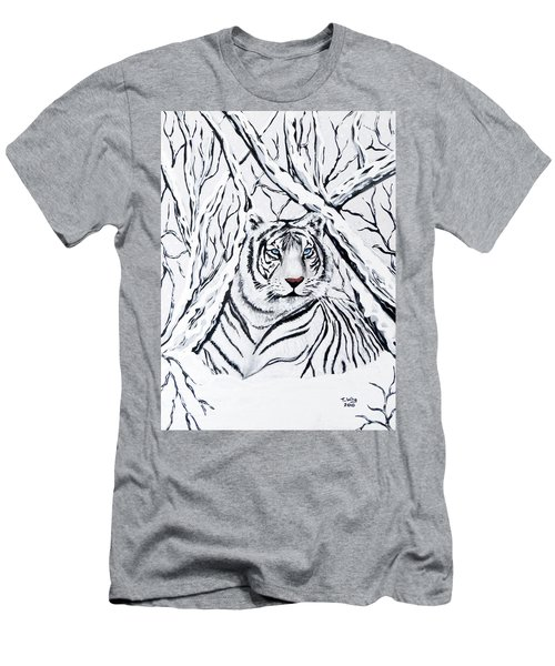 Men's T-Shirt (Slim Fit) featuring the painting White Tiger Blending In by Teresa Wing