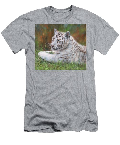 Men's T-Shirt (Slim Fit) featuring the painting White Tiger Cub 2 by David Stribbling