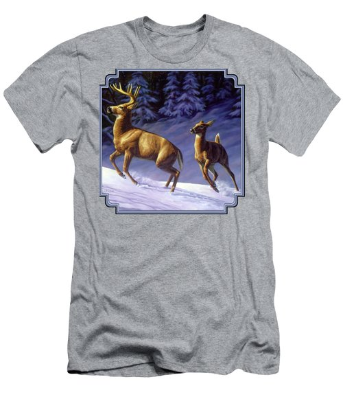 Whitetail Deer Painting - Startled Men's T-Shirt (Athletic Fit)