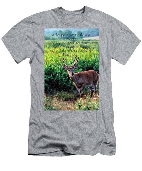Men's T-Shirt (Slim Fit) featuring the photograph Whitetail Deer Panting by Thomas R Fletcher