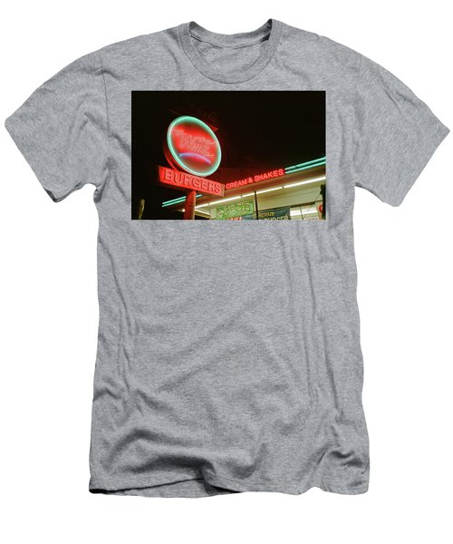 Men's T-Shirt (Athletic Fit) featuring the photograph Whiz Burgers Neon, San Francisco by Frank DiMarco