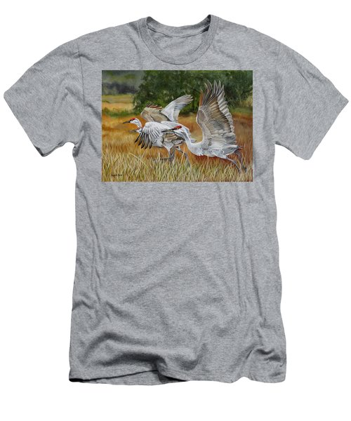 Sandhill Cranes In A Field Men's T-Shirt (Athletic Fit)
