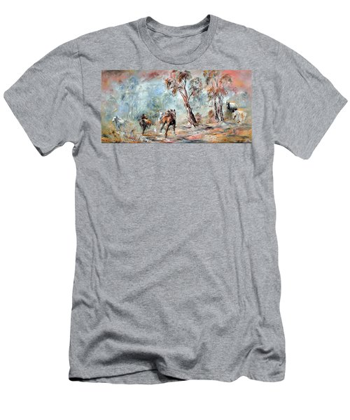 Men's T-Shirt (Athletic Fit) featuring the painting Wild Brumbies by Ryn Shell