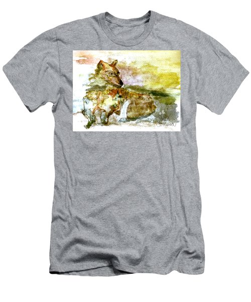 Men's T-Shirt (Athletic Fit) featuring the painting Wild Country Wolf by Denise Tomasura