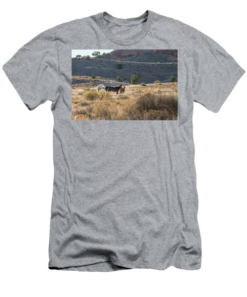 Men's T-Shirt (Slim Fit) featuring the photograph Wild Horses In Monument Valley by Jon Glaser