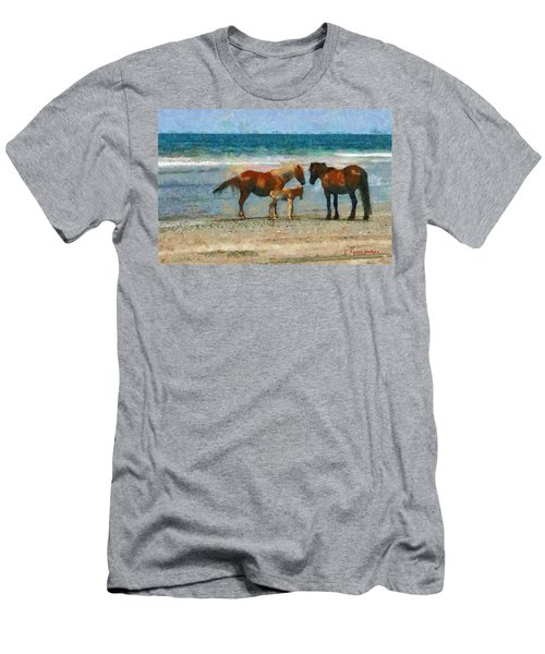 Wild Horses Of The Outer Banks Men's T-Shirt (Slim Fit) by Lynne Jenkins