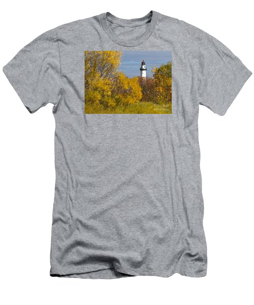 Wind Point Lighthouse In Fall Men's T-Shirt (Slim Fit) by Ricky L Jones