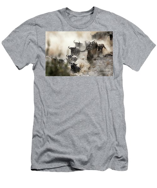 Wildebeest Herd Crossing The Mara River Men's T-Shirt (Athletic Fit)