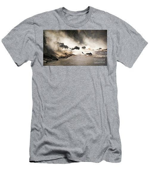 Wildebeest Leap Of Faith Into The Mara River Men's T-Shirt (Athletic Fit)