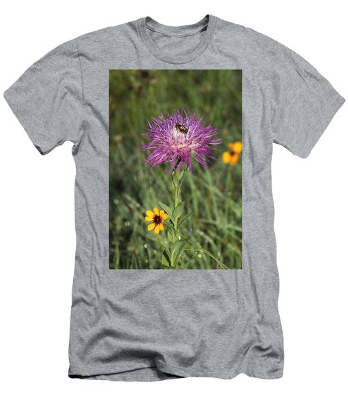 Men's T-Shirt (Athletic Fit) featuring the photograph Wildflowers And Friend by Sheila Brown