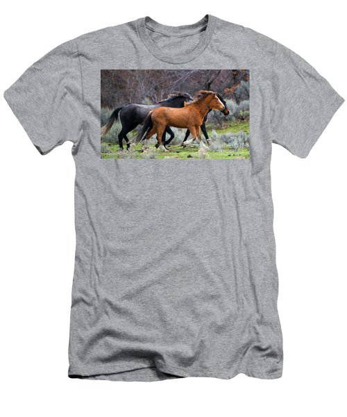 Men's T-Shirt (Slim Fit) featuring the photograph Wind In The Manes by Mike Dawson