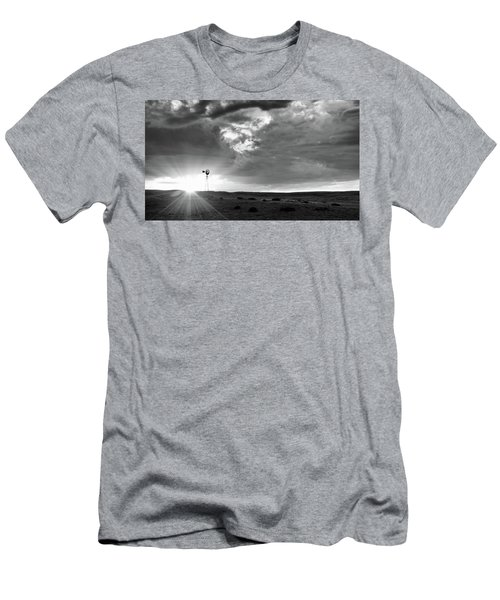 Men's T-Shirt (Athletic Fit) featuring the photograph Windmill At Sunset by Monte Stevens
