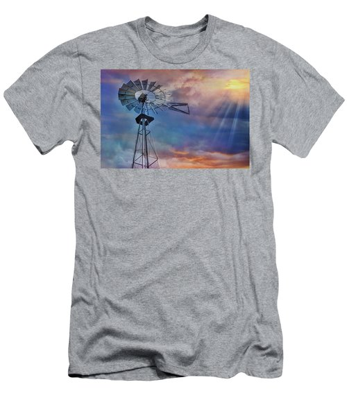 Men's T-Shirt (Slim Fit) featuring the photograph Windmill At Sunset by Susan Candelario