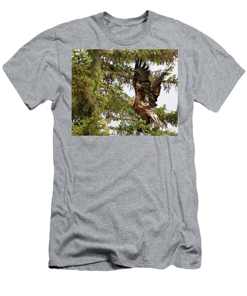 Men's T-Shirt (Athletic Fit) featuring the photograph Winging-it Up The Tree 1 by Debbie Stahre