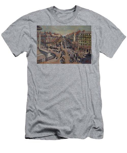 Winter At The Boulevard De La Madeleine, Paris Men's T-Shirt (Athletic Fit)