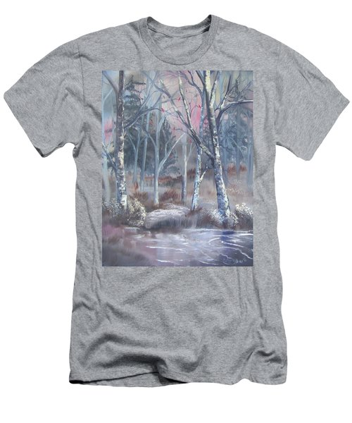 Men's T-Shirt (Athletic Fit) featuring the painting Winter Cardinals by Deleas Kilgore