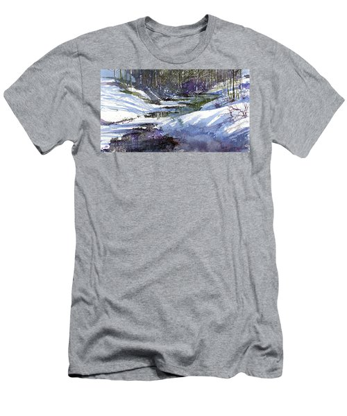 Men's T-Shirt (Athletic Fit) featuring the painting Winter Creekbed by Andrew King