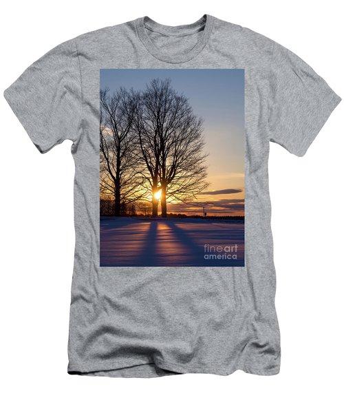 Winter, Crystal Spring Farm, Brunswick, Maine -78592 Men's T-Shirt (Slim Fit) by John Bald