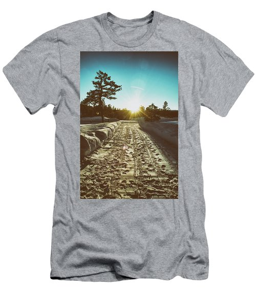 Winter Driveway Sunset Men's T-Shirt (Athletic Fit)